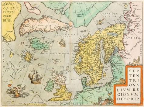 Abraham Ortelius's map of northern regions (c1570)