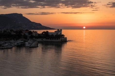 Sunrise beyond Villa Grecque Kerylos, Beaulieu-sur-Mer