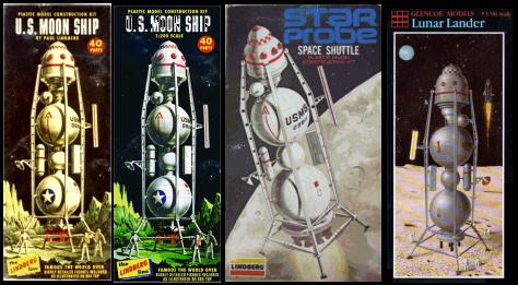 Multiple box art for Linberg Moon Ship