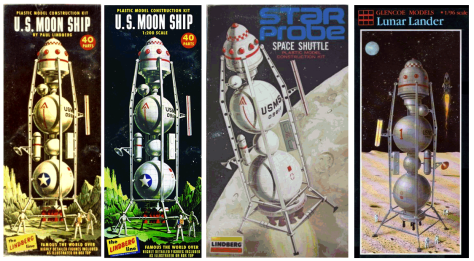 Multiple box art for Linberg Moon Ship