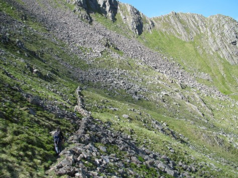 Following the wall below the Forcan Ridge