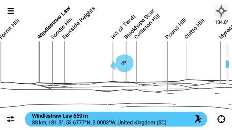 Windlestraw Law from Dundee Law, PeakFinder app