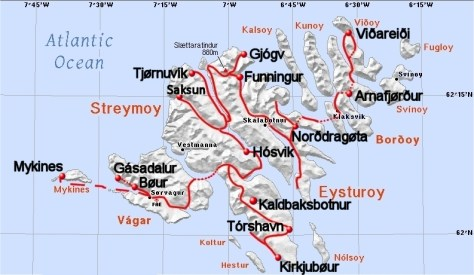 Map of northern Faeroes, showing route taken and places visited