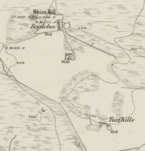 OS six-inch map of Boglebee and Turfhills