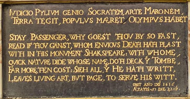 Shakespeare funerary monument plaque