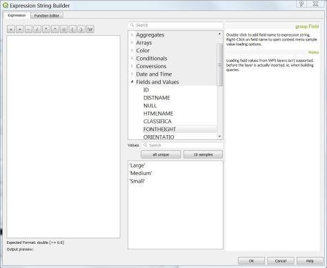 QGIS Expression String Builder window 2