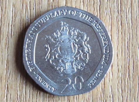 Gibraltar commemorative 20p coin