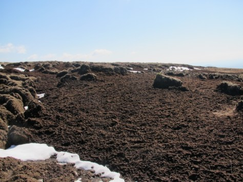 Peat marked by snow thaw, Green Hill