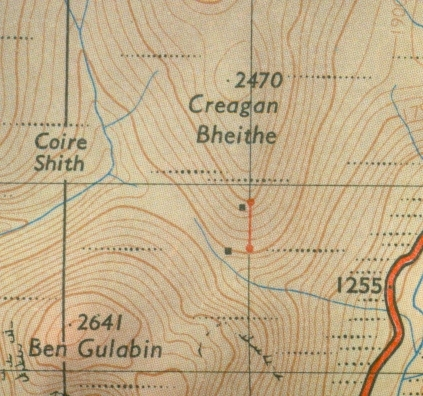 Gulabin ski huts and tow, OS Tourist Map 1964