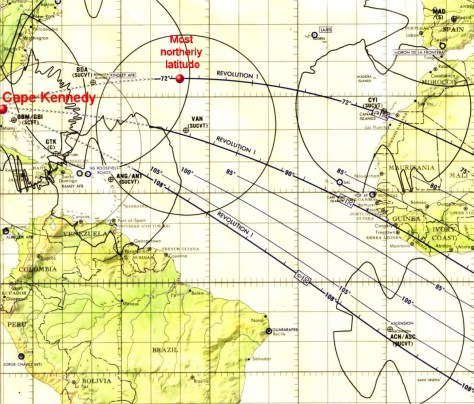 Detail of Apollo 11 Earth Orbit chart