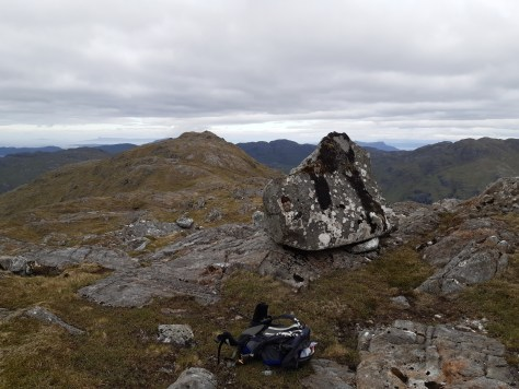 Erratic block, Sgurr an Utha and Eigg beyond