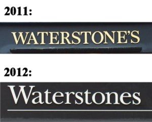 Waterstones shop front, before and after 2012