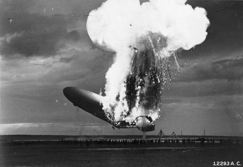 "Zeppelin LZ129 ""Hindenburg"" burning at Lakehurst, New Jersey, 6 May 1937"