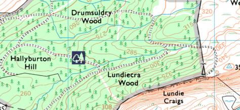 OS 1:25000 Lundiecra Wood