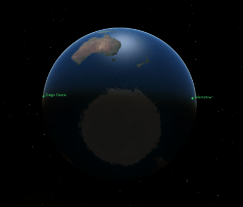 Diego Garcia and Adamstown both in sunlight on 21 June 2020