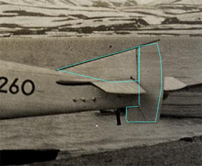 Check kit rudder proportions against photograph