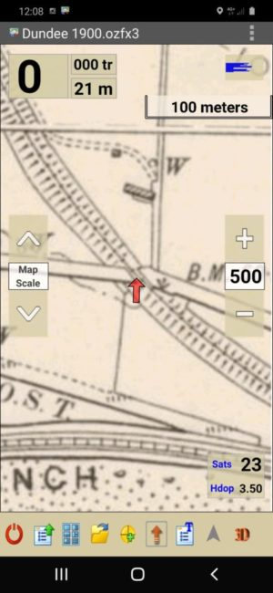 OziExplorer Android app with Victorian OS map loaded