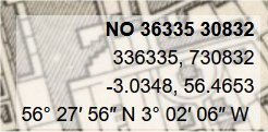 Coordinates from National Library of Scotland georeferenced map