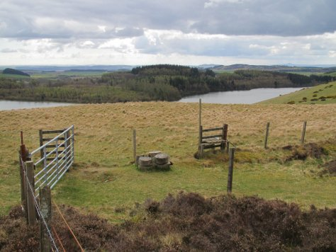Gate and stile on Pittendreich Hill above Long Loch