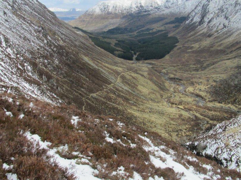 Jock's Road and Glen Doll from below Cairn Damff