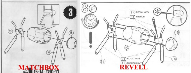 Matchbox & Revell 1/72 Supermarine Walrus assembly instructions compared