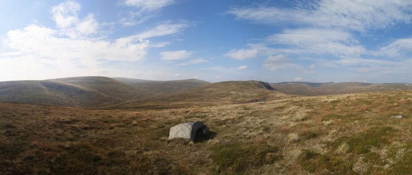 Panorama from summit of Crow Craigies South Top, Tom Buidhe to Broad Cairn
