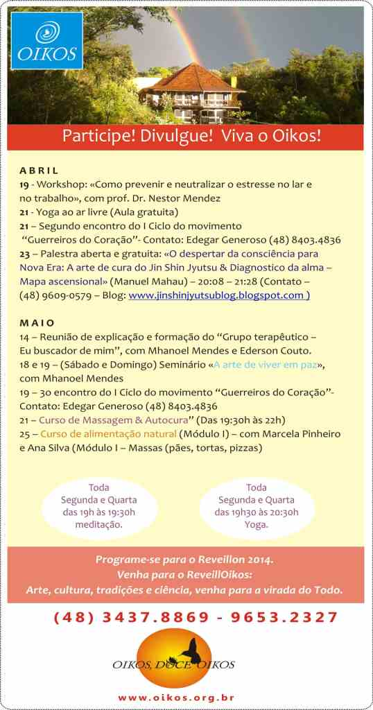 Agenda Oikos (Resumo abril e maio)