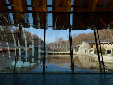 View from dining bridge to gallery bridge at Crystal Bridges