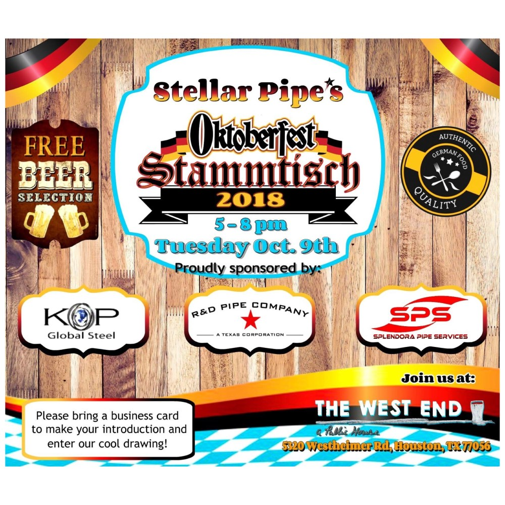 R&D Pipe Company Co-Sponsor Stammtisch 2018