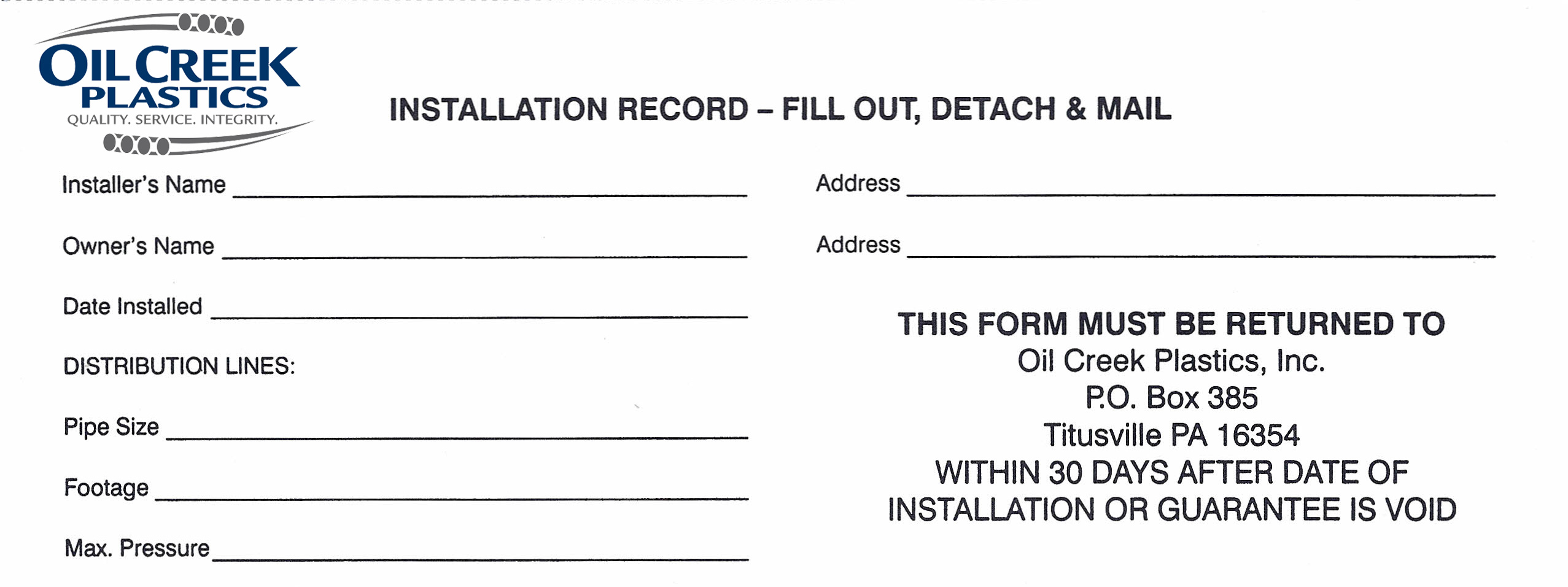Make sure to put the title at the top of the page. Warranty Card Oil Creek Plastics