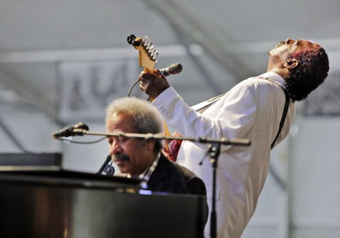 Guitar Slim Jr with AllenToussaint - Heating up the Stage for Day 1 of Jazz Fest 2013.