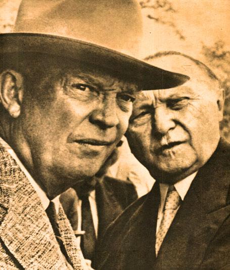 Pres. Eisenhower and West German Chancellor Konrad Adenauer - that Cold War gaze.