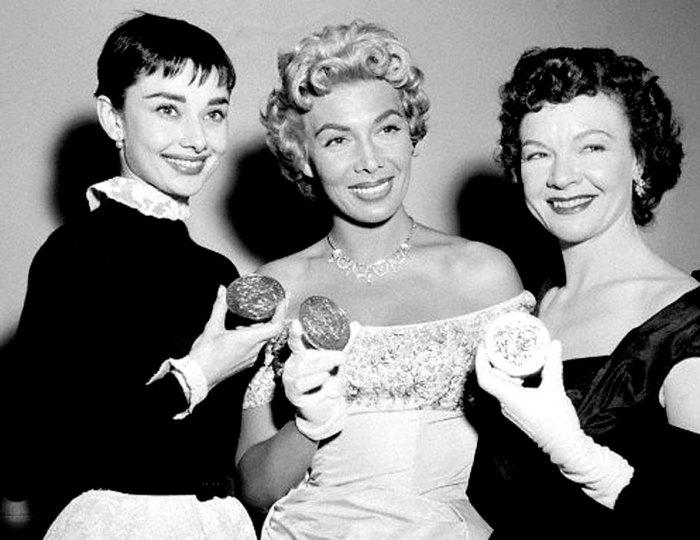 1954 Tony Award winners (L-R)Audrey Hepburn, Dolores Gray, Jo Van Fleet - back when awards shows zipped along.