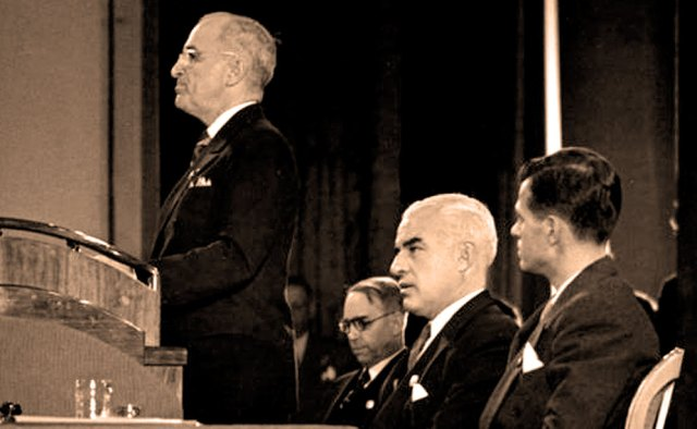 President Truman addresses United Nations Conference -April 25, 1945 - Hopeful signs.