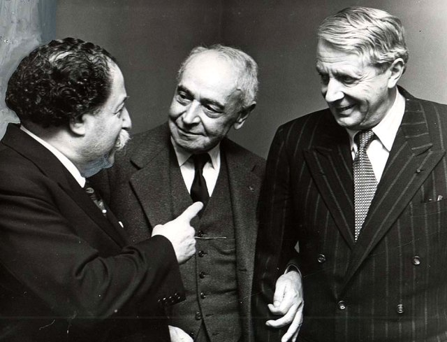Serge Koussevitzky (center) with Pierre Monteux (L) and Charles Munch R) - the Big 3 in Boston