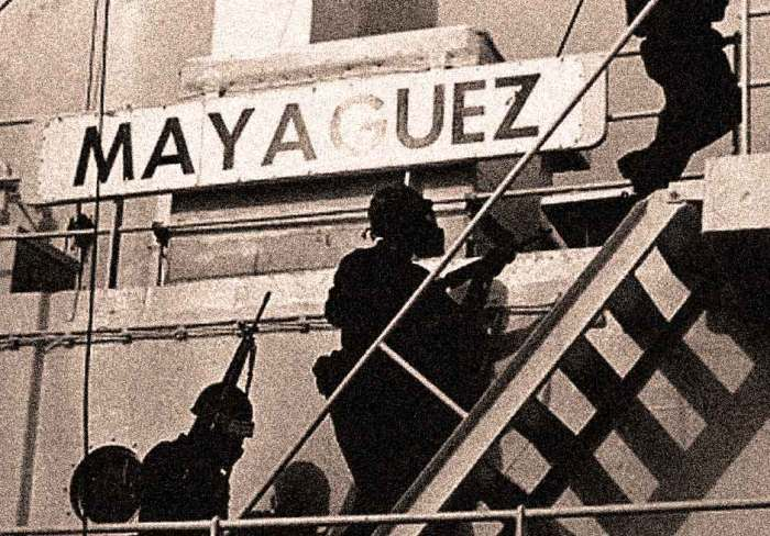 U.S. Marines boarding the Mayaguez - After that, the war was officially over.