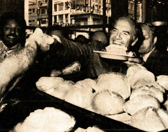 Candidate George McGovern - pressing the flesh amid the Pastrami.