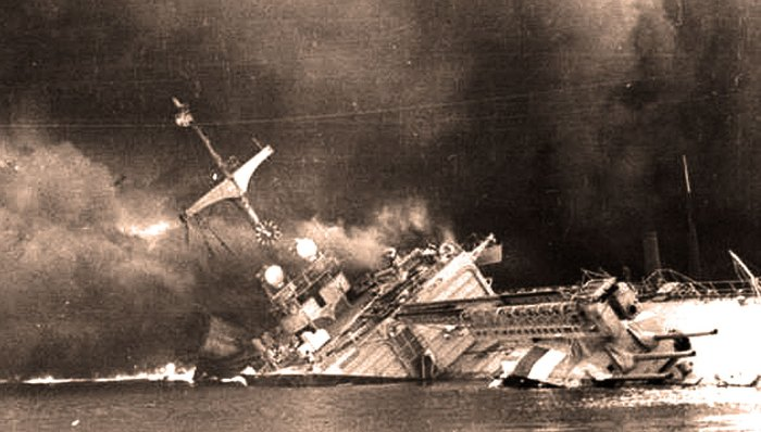 Fourth largest navy in the world - a flaming wreck.