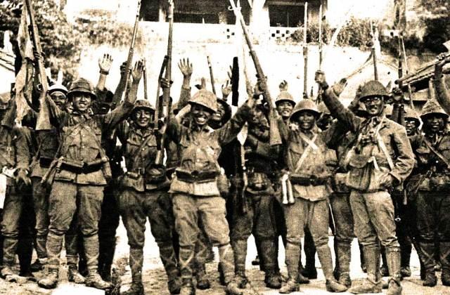 Manila fell. Japanese troops celebrated.