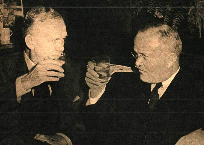 Marshall and Molotov - amid toasts and greetings; suspicion.