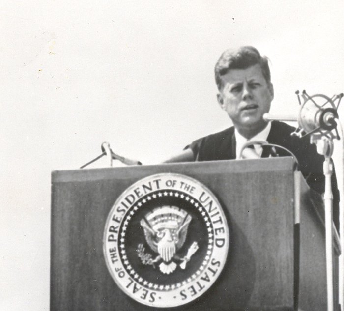JFK - at dedication of Memorial To The Missing -  bearing the burden of our Defense.