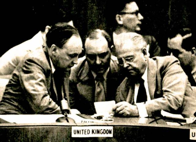 UN delegates to Britain and Warren Austin - UN delegate to the US. Working on beating Russia to the punch.