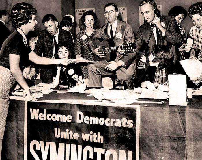 1960 Democratic Convention - Stuart Symington supporters - hoping up to the last minute that fortunes change.