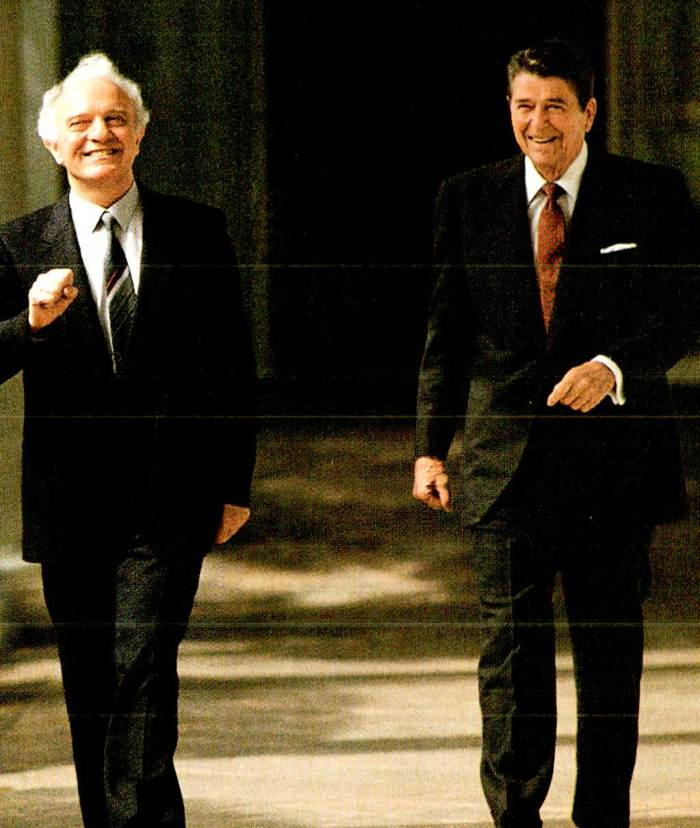 Shevardnadze and Reagan - if they could've skipped cheerily across the Rose Garden, they would have.