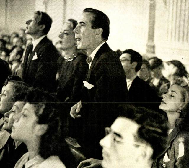 Danny Kaye, Humphrey Bogart, Lauren Bacall viewing HUAC Hearings - nothing proved - lives ruined.