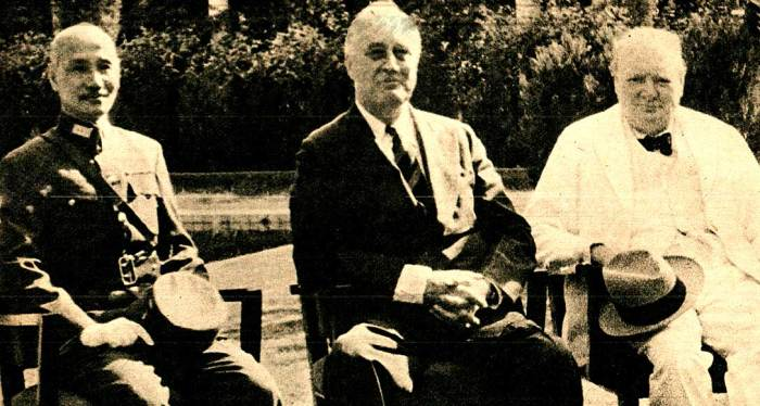 Cairo Conference - Chiang Kai-Shek, FDR, Winston Churchill - coming up with a plan in the Far East once it was all over.