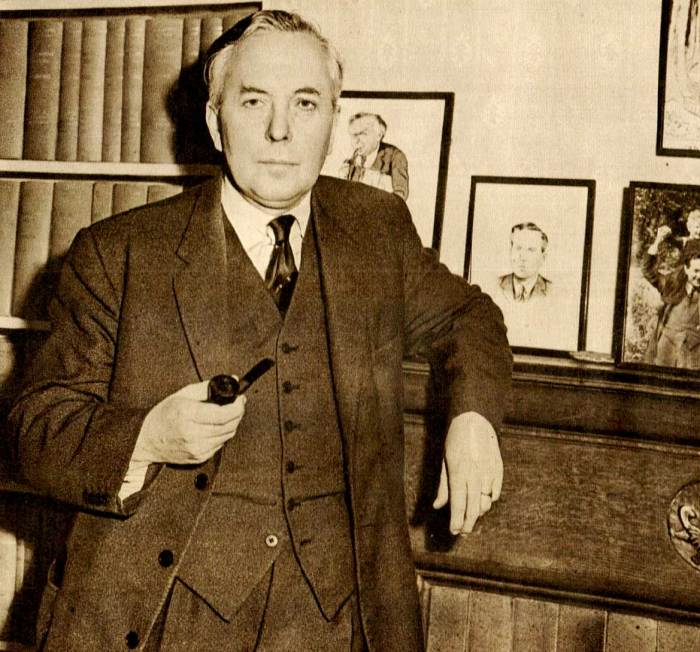 Labour Party Leader Harold Wilson - hitting the ground running.