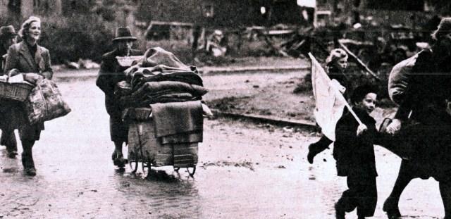 Germans evacuating Aachen