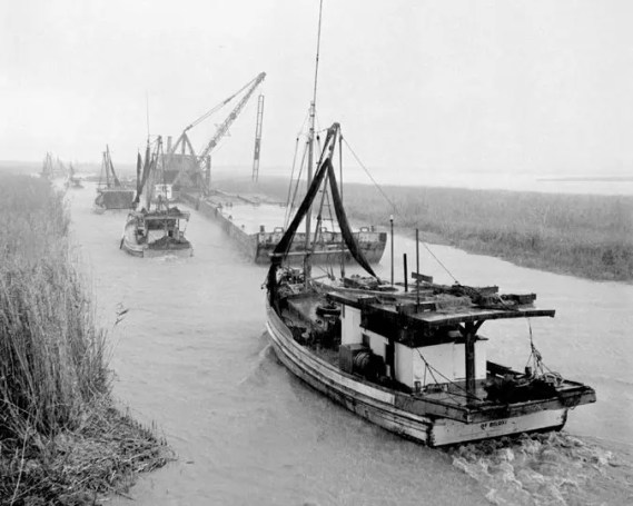 Foggy Morning Procession Towards the Drilling Site… 1950s