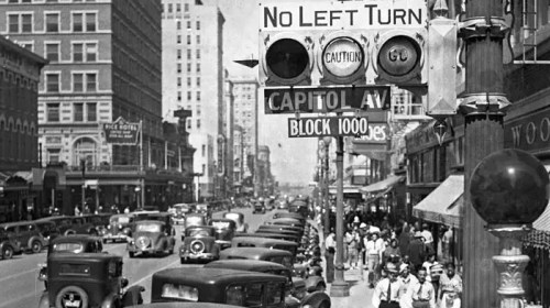 One of the First Traffic Lights, Main Street, Houston, 1920s